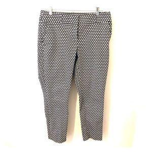 LOFT Black & White Print Ankle Pants